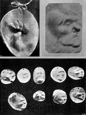 Imprints of ghost hands and faces